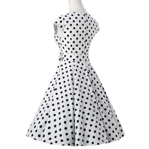 Retro 1950s Audrey Polka Dots Swing Cocktail Rockabilly Pinup Dress CF1003 White_03