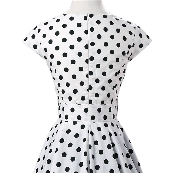 Retro 1950s Audrey Polka Dots Swing Cocktail Rockabilly Pinup Dress CF1003 White_05