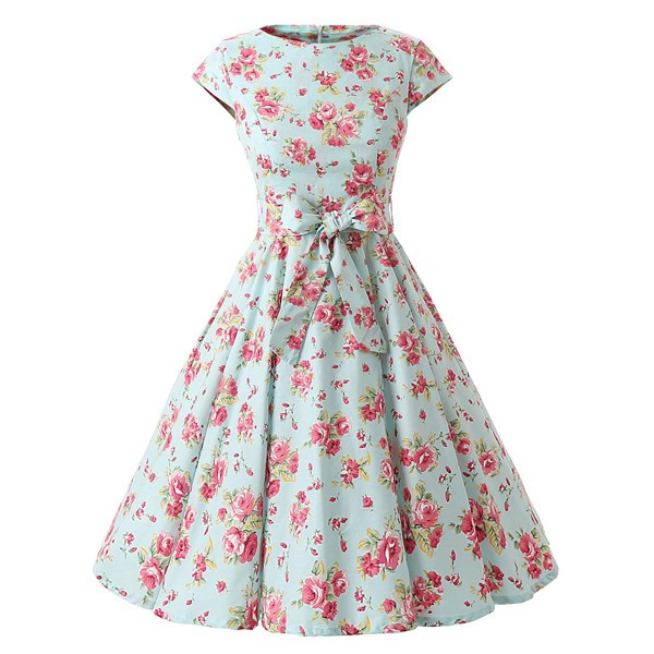 Retro 1950s Cap Sleeve Rockabilly Pinup Swing Floral Hepburn Dresses CF1004 Green Floral