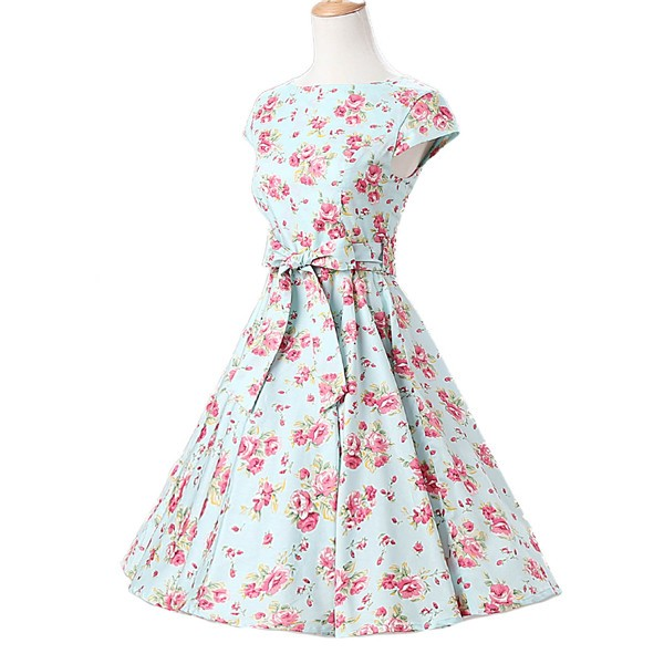 Retro 1950s Cap Sleeve Rockabilly Pinup Swing Floral Hepburn Dresses CF1004 Green Floral_02
