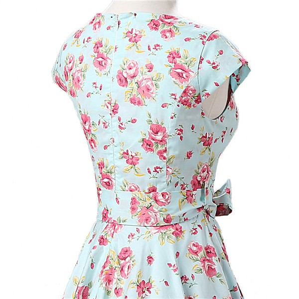 Retro 1950s Cap Sleeve Rockabilly Pinup Swing Floral Hepburn Dresses CF1004 Green Floral_04