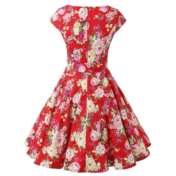 Retro 1950s Cap Sleeve Rockabilly Pinup Swing Floral Hepburn Dresses CF1004 Red Floral_01