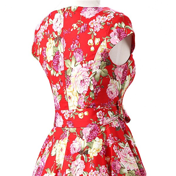 Retro 1950s Cap Sleeve Rockabilly Pinup Swing Floral Hepburn Dresses CF1004 Red Floral_04