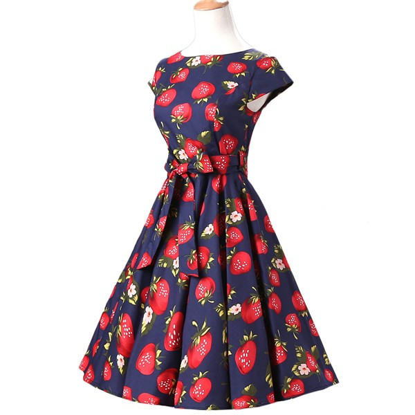 Retro 1950s Cap Sleeve Rockabilly Pinup Swing Floral Hepburn Dresses CF1004 Strawberry_02