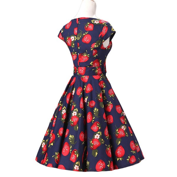 Retro 1950s Cap Sleeve Rockabilly Pinup Swing Floral Hepburn Dresses CF1004 Strawberry_03