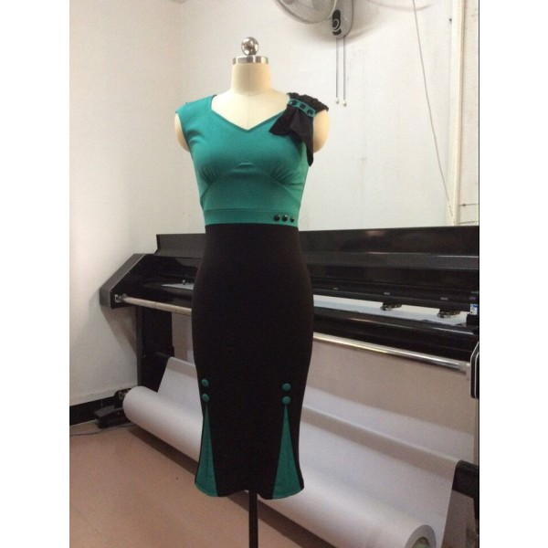 Retro Chic Elegant Voguish Sweetheart Neck Bow Pencil Sheath Dresses CF1611 Green_02