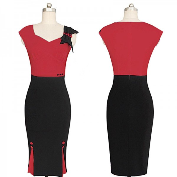 Retro Chic Elegant Voguish Sweetheart Neck Bow Pencil Sheath Dresses CF1611 Red_03
