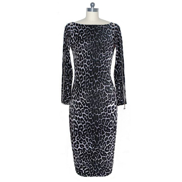 Retro Chic Leopard Print Boat Neck Long Sleeve Pencil Dresses CF1621_02