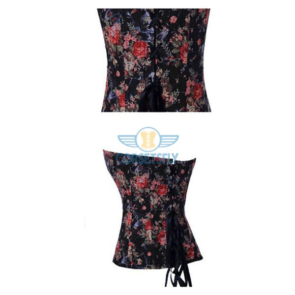 Retro Country Floral Print Denim Overbust Sweetheart Corset CF7070 Blue_01