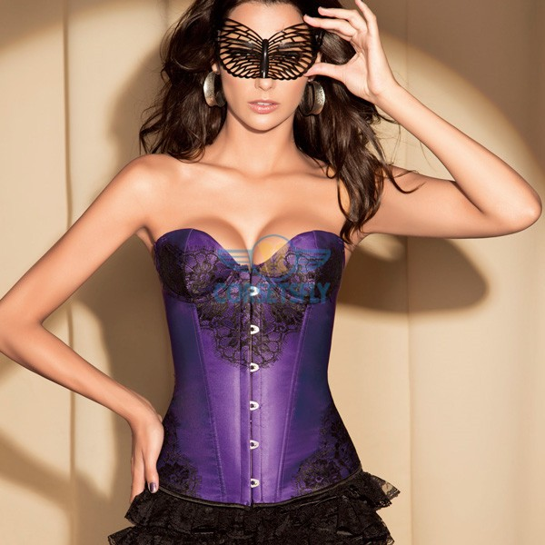Retro Floral Lace Front and side Corset with Underwire Cups CF5163 Purple