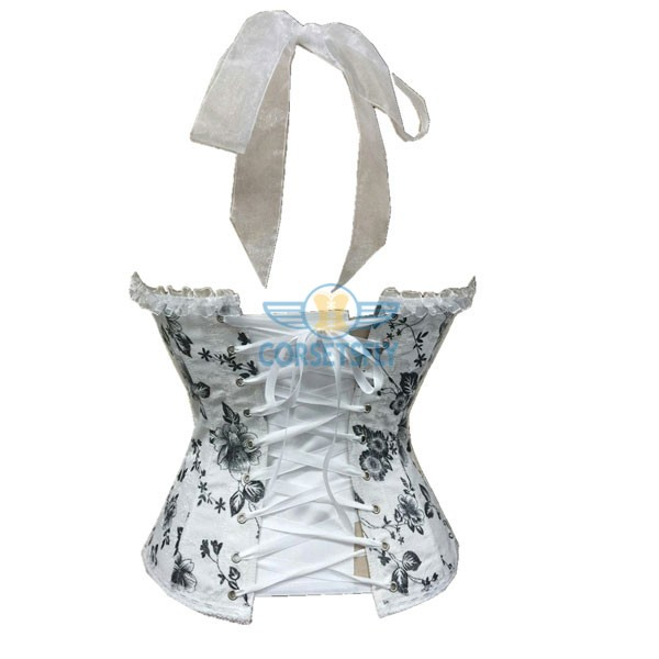 Retro Flower Print Neckholder and Ribbon White Fashion Overbust Corset CF5001 White_01