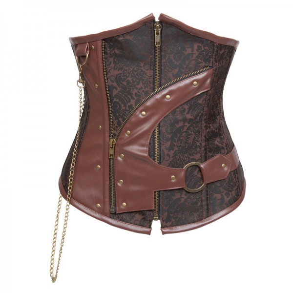 Retro Lace-up Spiral Steel Boned Brocade Steampunk Underbust Corset CF8045 Brown_01