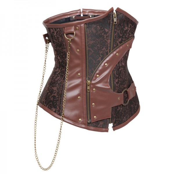 Retro Lace-up Spiral Steel Boned Brocade Steampunk Underbust Corset CF8045 Brown_03