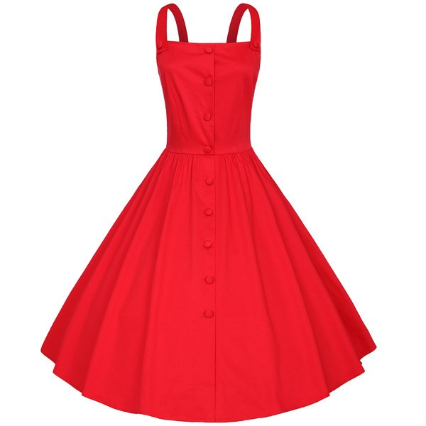 Retro Pinup Vintage 1950s Rockabilly Classy Swing Evening Party Dress CF1504 Red_01