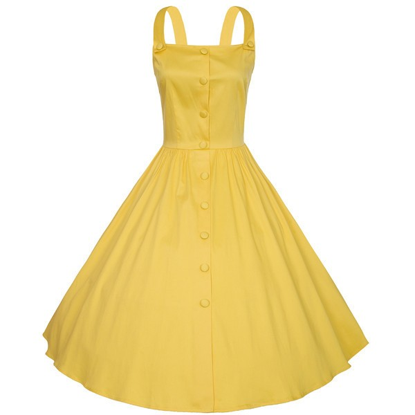 Retro Pinup Vintage 1950s Rockabilly Classy Swing Evening Party Dress CF1504 Yellow_01