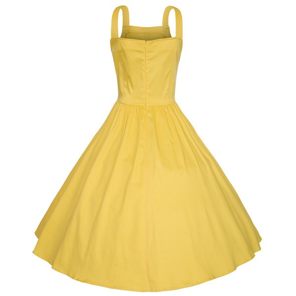 Retro Pinup Vintage 1950s Rockabilly Classy Swing Evening Party Dress CF1504 Yellow_02