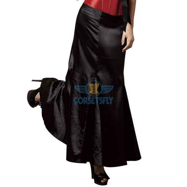 Retro Rockabilly 1950s Gothic Prom Victorian Steampunk Long Black Skirt CF6504