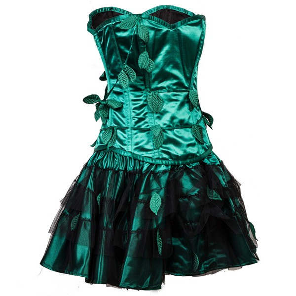 Retro Steel Boned Overbust Strapless Green Leaf Bustier Corset with Skirt CF8083_02