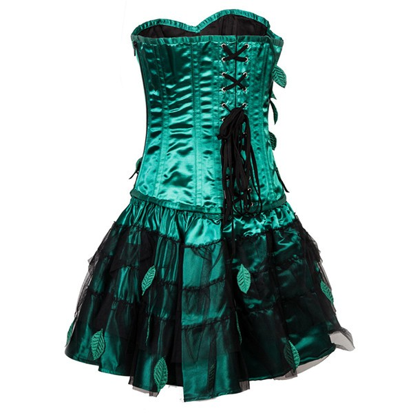 Retro Steel Boned Overbust Strapless Green Leaf Bustier Corset with Skirt CF8083_03