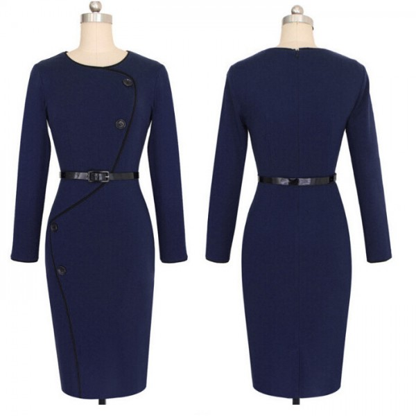 Retro Vintage Chic Buttons Round Neck Long Sleeve Pencil Dresses CF1641 Navy_01