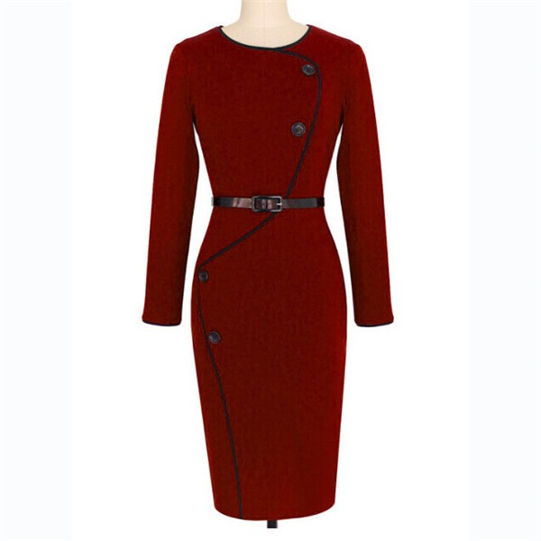 Retro Vintage Chic Buttons Round Neck Long Sleeve Pencil Dresses CF1641 Burgundy_01