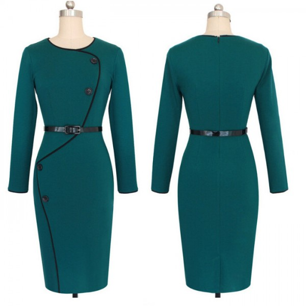 Retro Vintage Chic Buttons Round Neck Long Sleeve Pencil Dresses CF1641 Green_01