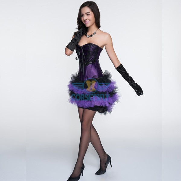 Ribbon Lacing Criss Cross Lace Overlay Corsets and Purple Petticoat CF6836_01