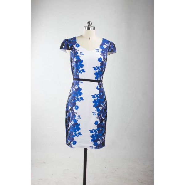 Rockabilly Blue Floral Print Cap-sleeve Bodycon Vintage Sheath Pencil Dress CF1244_04
