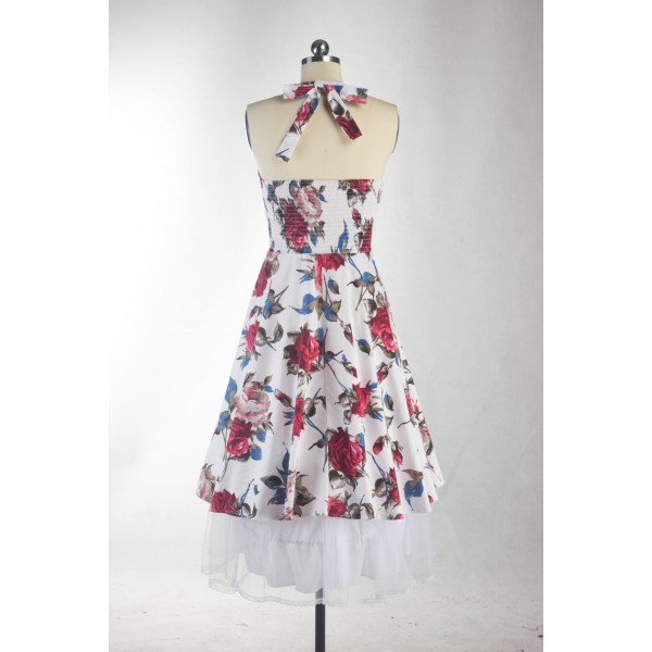 Rockabilly Floral Print Vintage Halter Sweetheart Neck Swing Dress CF1276_06