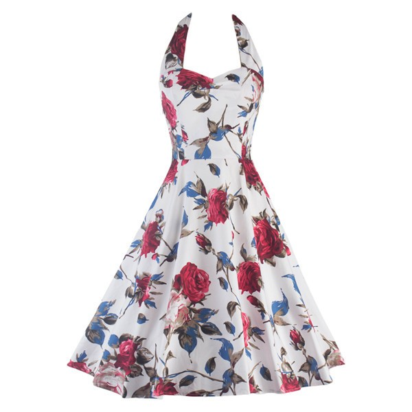 Rockabilly Floral Print Vintage Halter Sweetheart Neck Swing Dress CF1276_01