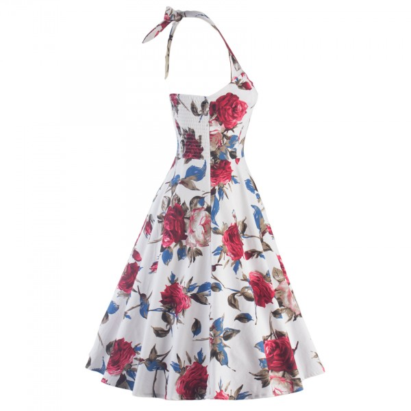 Rockabilly Floral Print Vintage Halter Sweetheart Neck Swing Dress CF1276_04