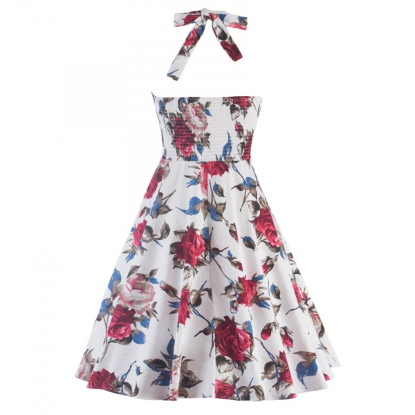 Rockabilly Floral Print Vintage Halter Sweetheart Neck Swing Dress CF1276_05