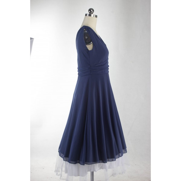 Rockabilly Pinup Sleeveless Vintage Evening Party Classy Blue Swing Dress CF1279_04