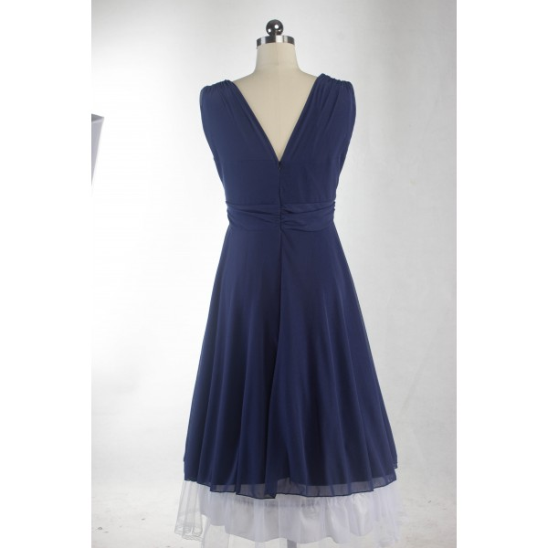 Rockabilly Pinup Sleeveless Vintage Evening Party Classy Blue Swing Dress CF1279_05