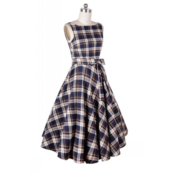 Rockabilly Plaids Swing Dress Vintage Retro Audrey Hepburn 1950s Style purple_01