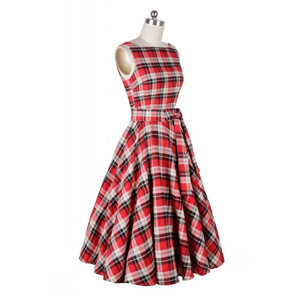 Rockabilly Plaids Swing Dress Vintage Retro Audrey Hepburn 1950s Style red_05