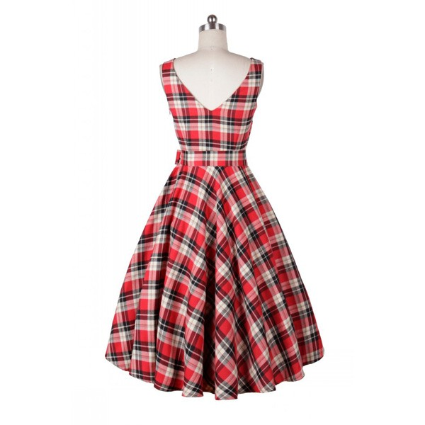 Rockabilly Plaids Swing Dress Vintage Retro Audrey Hepburn 1950s Style red_06