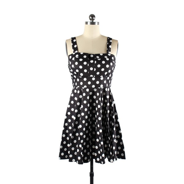 Rockabilly Polka Dots Vintage Retro Audrey Hepburn 1950s Swing Dress black