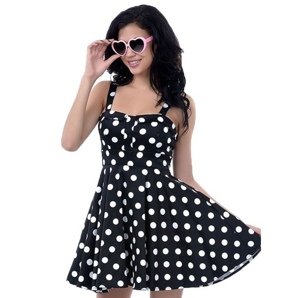Rockabilly Polka Dots Vintage Retro Audrey Hepburn 1950s Swing Dress black_01