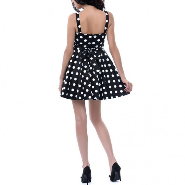 Rockabilly Polka Dots Vintage Retro Audrey Hepburn 1950s Swing Dress black_04