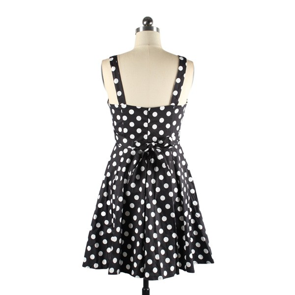 Rockabilly Polka Dots Vintage Retro Audrey Hepburn 1950s Swing Dress black_05