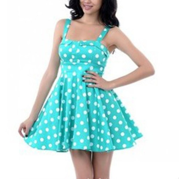 Rockabilly Polka Dots Vintage Retro Audrey Hepburn 1950s Swing Dress blue_01