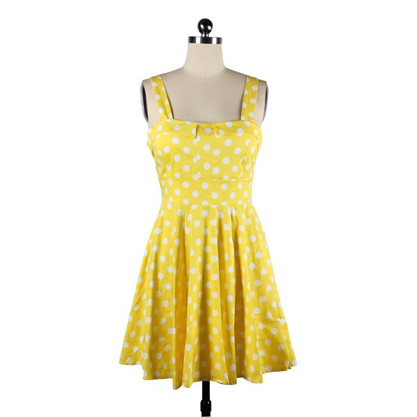 Rockabilly Polka Dots Vintage Retro Audrey Hepburn 1950s Swing Dress yellow