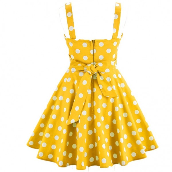 Rockabilly Polka Dots Vintage Retro Audrey Hepburn 1950s Swing Dress yellow_01