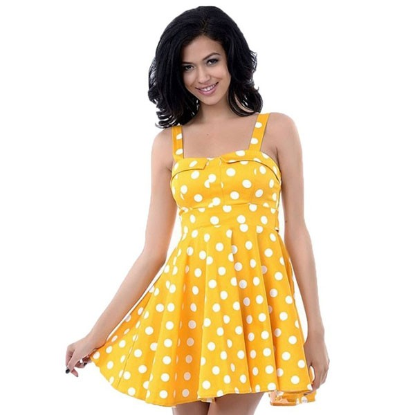 Rockabilly Polka Dots Vintage Retro Audrey Hepburn 1950s Swing Dress yellow_02