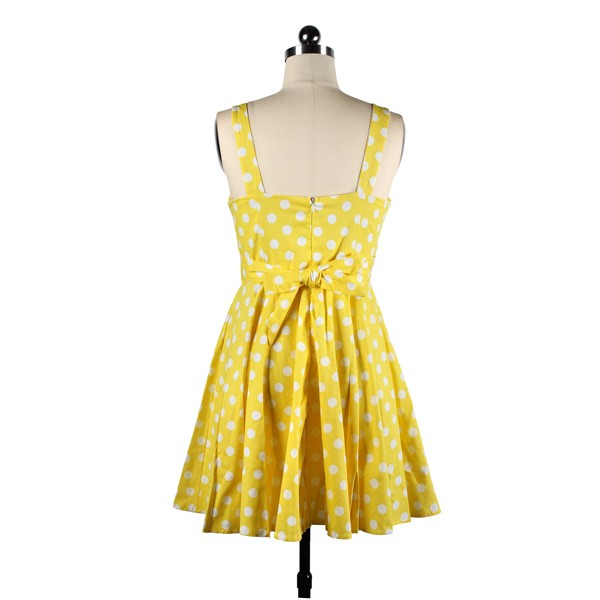 Rockabilly Polka Dots Vintage Retro Audrey Hepburn 1950s Swing Dress yellow_04