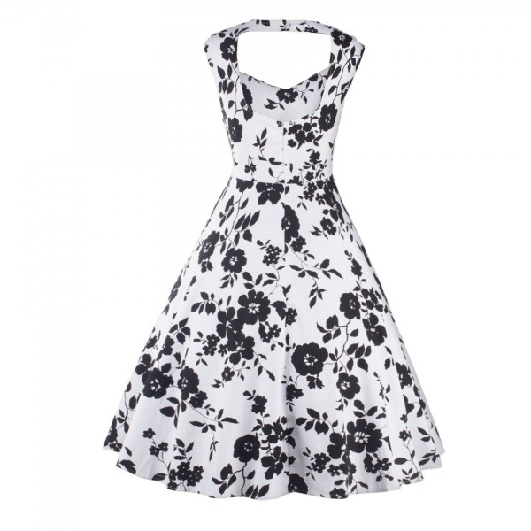 Rockabilly Swing 1950s Floral Print Sleeveless Vintage Evening Party Dress CF1239 Black_02