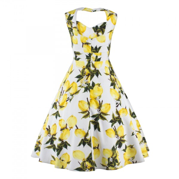 Rockabilly Swing 1950s Floral Print Sleeveless Vintage Evening Party Dress CF1239 Yellow_02