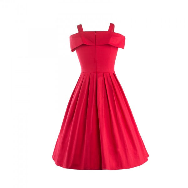 Rockabilly Swing 1950s Strappy Vintage Bowknot Evening Party Dress CF1237 Red_02