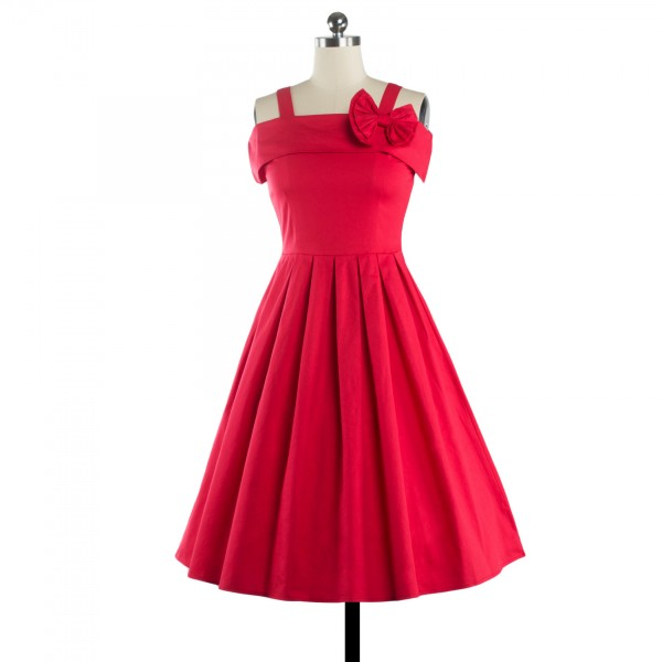 Rockabilly Swing 1950s Strappy Vintage Bowknot Evening Party Dress CF1237 Red_04